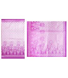 Mauve Print on White Cotton Silk Kota Sari
