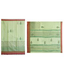 Print on Light Green Cotton Silk Kota Sari