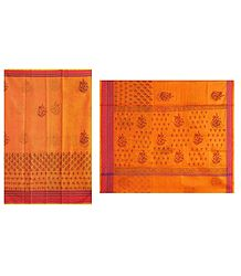 Print on Dark Yellow Cotton Silk Kota Sari