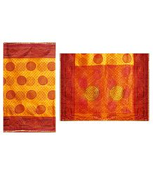 Tie and Dye Print on Yellow Cotton Silk Kota Sari