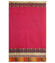 Red Cotton Silk Saree with Madhubani and Ikkat Border