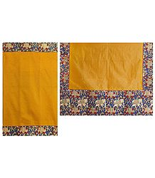 Yellow Cotton Silk Kota Saree with Kalamkari Border