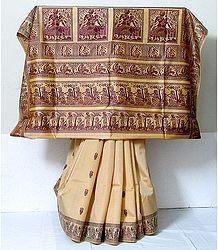 Light Beige Color Baluchari Silk  Saree with Maroon Woven Threadwork Border and Pallu