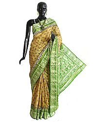 Light Beige Silk Saree with Light Green Baluchari Design Border