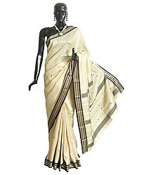 Light Beige Tussar Saree with Black Ikkat Design Border and Pallu