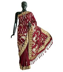 Dupion Silk Saree with Sequin qnd Zari Embroidery