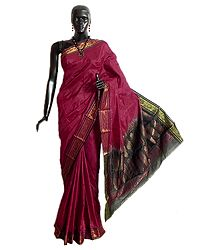Maroon Rajshahi Silk Saree with Black Border and Pallu