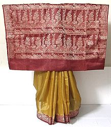 Mustard Yellow Tussar Silk Saree with Maroon Border and Pallu with Weaved Threadwork