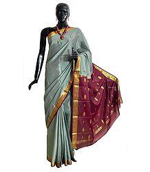 Grey Mysore Crepe Silk Saree with Maroon Border and Pallu with Zari