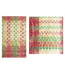Buy Online Jamdani Design on Off-White Net Saree