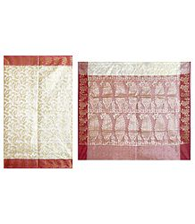 Buy Online Jamdani Design on White Net Saree