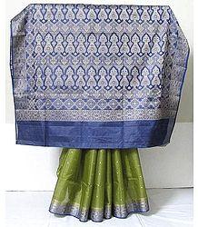 Olive Green Banarasi Silk Tussar sari