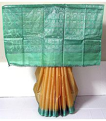 Orange Tussar Silk Saree with Light Green Border and Pallu with Weaved Silver Work