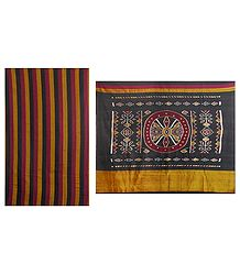 Maroon, Black and Yellow Stripe All Over in Orissa Cotton Sari with Ikat Pallu