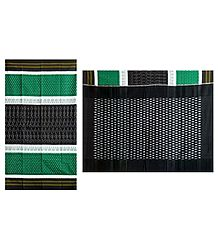 Ikkat Design on Green, White and Black Cotton Saree