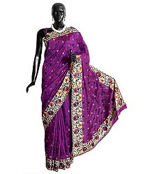 Dark Magenta Tussar Silk Saree with Parsi Embroidery on Light Cream Border and Pallu