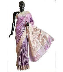 Mauve Pashmina Silk Saree with All-Over Design from Banaras with Brocade Border and Pallu