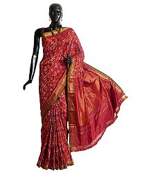 Maroon with Red Patola Silk Saree with All-Over Weaved Design from Gujrat
