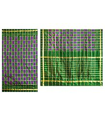 Ikkat Design on Green & Purple Silk Saree