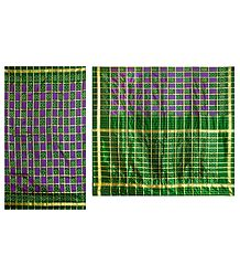 Ikkat Design on Green and Purple Silk Saree with Border and Pallu