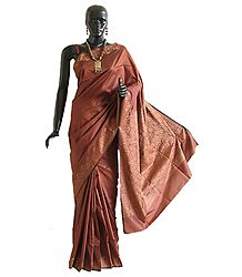 Polyester Sari with Intricately Woven Border and Anchal