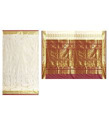 Off-White Poly Silk Sari with Gorgeous Pallu and All-Over Zari Boota