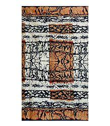 Beige & Black Batik Print on White Cotton Saree