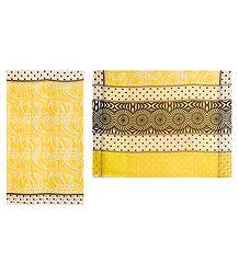 Printed Yellow Chiffon Saree