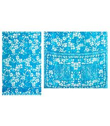 Buy Floral Print Cyan Blue Chiffon Saree