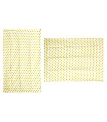 Light Yellow Polka Dot on White Synthetic Saree