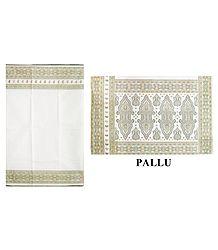 White Cotton Saree with Printed Border & Pallu