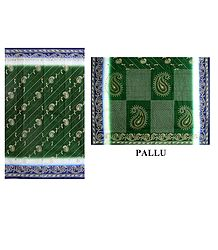 Printed Green Cotton Saree - Online Shop