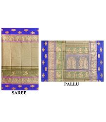 Light Brown Cotton Saree with Baluchari Print Border and Pallu