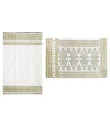 White Cotton Saree with Printed Border and Pallu