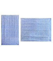Printed Light Blue Cotton Sari