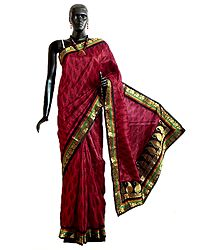 Black Print on Red Tussar Silk Saree with Zari Border and Pallu