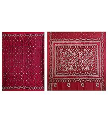 Kantha Stitch on Red Pure Silk Saree with Gorgeous Border and Pallu