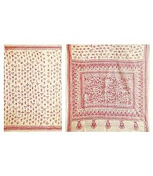 Kantha Stitch on Off-White Tussar Saree with Gorgeous Border and Pallu