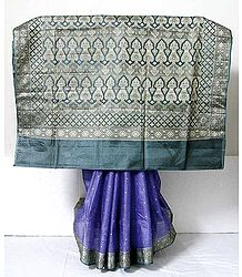Purple Banarasi Silk Tussar Saree
