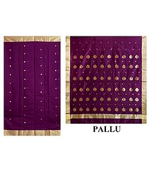 Buy Golden Zari  Boota on Purple Chanderi Saree