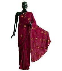 Maroon Kardana Georgette Saree with Embroidered Flower All-Over and Sequined Border