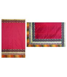 Red Cotton Silk Kota Saree with Madhubani Print Border