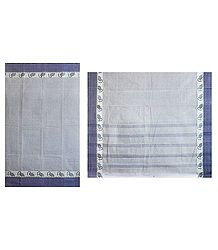 Grey Striped Cotton Tant Saree