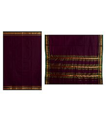 Maroon Sholapuri Cotton Saree with Border