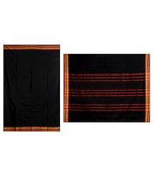 Black Sholapuri Cotton Saree with Border