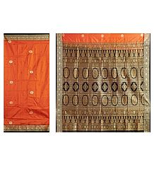 Buy Burnt Orange Bomkai Orissa Silk Saree