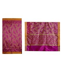 Magenta Silk Cotton Saree with Yellow Border