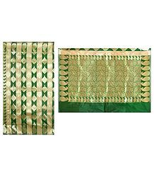 Green Banarasi Ghicha Silk Saree with Zari Design