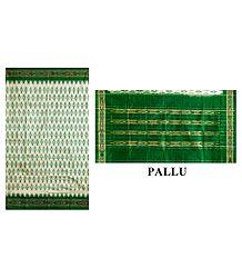 Ikkat Design on Ivory Silk Saree