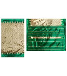 Art Silk Sari with Green Temple Border